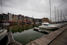 Yachts In The Black Port In Normandy Before The Rain