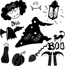 Various Cute Halloween Black Icons. For Web Backgrounds, Fabrics, Wrapping Paper, Decoration. Halloween Witch, Lamp, Ghost, Cat, Legs, Pumpkin, Broom.