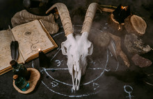 White Goat Scull With Horns, Open Old Book (text - Untranslatable, Fictional Language), Runes, Black Candles And Herbs On Witch Table. Occult, Esoteric, Divination And Wicca Concept. Halloween Concept