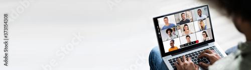 Fototapeta Young Man Using Laptop At Home obraz na płótnie