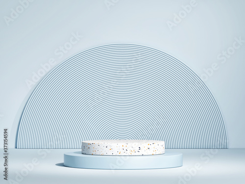 Mockup podium for product presentation, 3d  rendering of showroom or exhibition Fotobehang