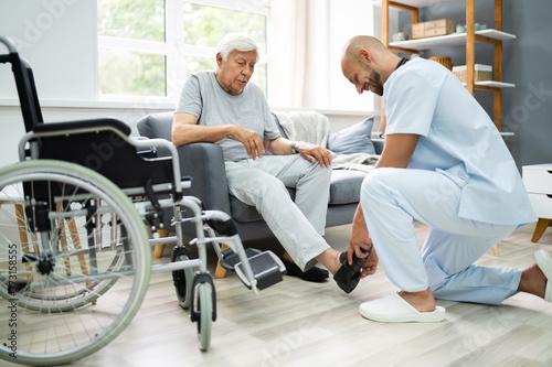 Fototapeta Old Senior Home Care Patient With Nurse