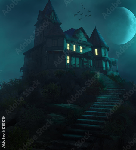 Fotografiet Halloween Haunted Manor on a Hill Against the Moon