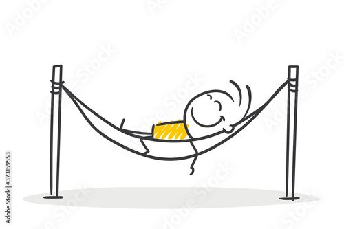 Fototapeta Strichfiguren / Strichmännchen: Pause, Hängematte, ausruhen