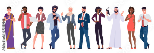 Fototapeta Flat design vector set of multicultural, black, caucasian, arab, muslim and indian people characters are acting and communicaing. Trendy modern style vector illustration in flat cartoon style. obraz