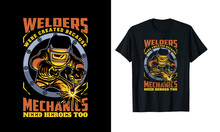 Mechanics Welder T Shirt Design Vector Template