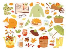 Set Of Cute Autumn Animal Char...
