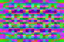 An Abstract Neon Glitch Art Pixel Grid Background Image.