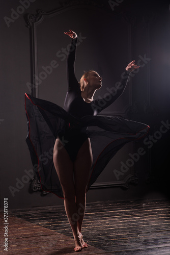 Fotografija Beautiful young female classical ballet dancer on pointe shoes wearing a black l