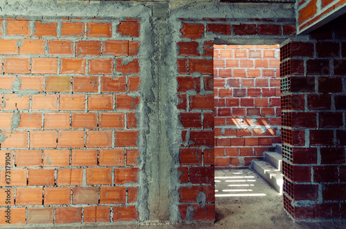 Obraz na plátně Inside of a building in the process of construction in Constancia, Santarem, Por