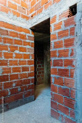 Fototapeta The inside of a building in the process of construction in Constancia, Santarem,