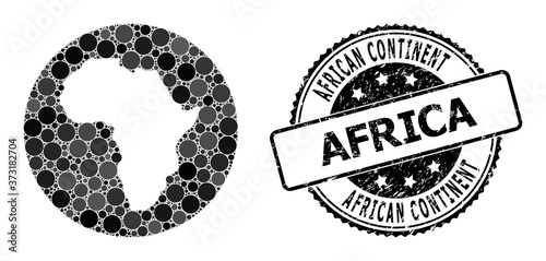 Fototapeta Mosaic Hole Round Map of Africa and Rubber Seal
