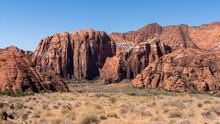 Beautiful Shot Of Red Sandstone Cliffs In St. George, Utah