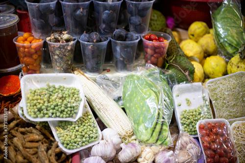 Leinwand Poster vegetables. mexico mercado. market