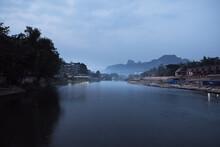Nam Song River At Dawn In Vang...