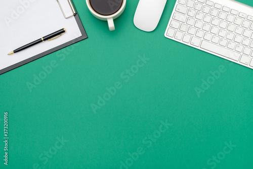 Obraz Workspace on color desk in home office - fototapety do salonu