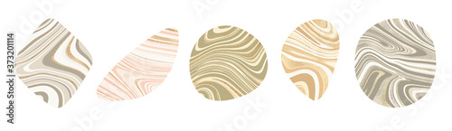modern abstract minimal organic clip art shapes set in marble wave lines gold du Fototapet