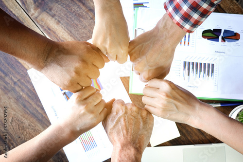 Tablou Canvas Four hand up of people working assemble corporate meeting show symbol Join force