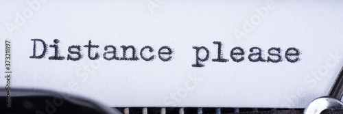 Photo Distance please on white sheet in vintage typewriter