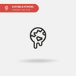 Global Warming Simple vector icon. Illustration symbol design template for web mobile UI element. Perfect color modern pictogram on editable stroke. Global Warming icons for your business project