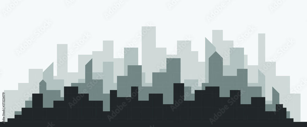 Fototapeta Abstract futuristic city sky with modern buildings vector wallpaper background. Vector illustration EPS 10.