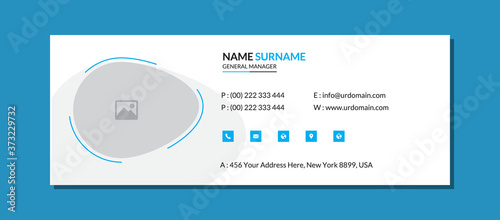 Corporate email signature template with an author photo place minimal layout Canvas