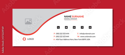 Modern email signature template with an author photo place Fotobehang