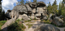 Low Angle Shot Of Stacked Big Stones In The Ochsenkopf Mountain In Fichtelgebirge, Germany