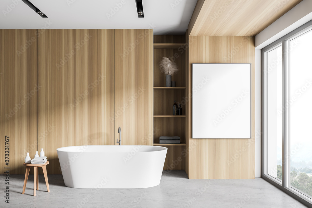 White and wooden bathroom with tub and poster