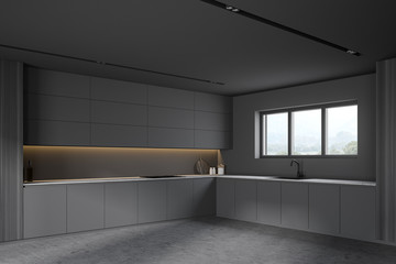 Grey and wooden kitchen corner with cupboards