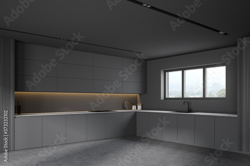 Obraz Grey and wooden kitchen corner with cupboards - fototapety do salonu