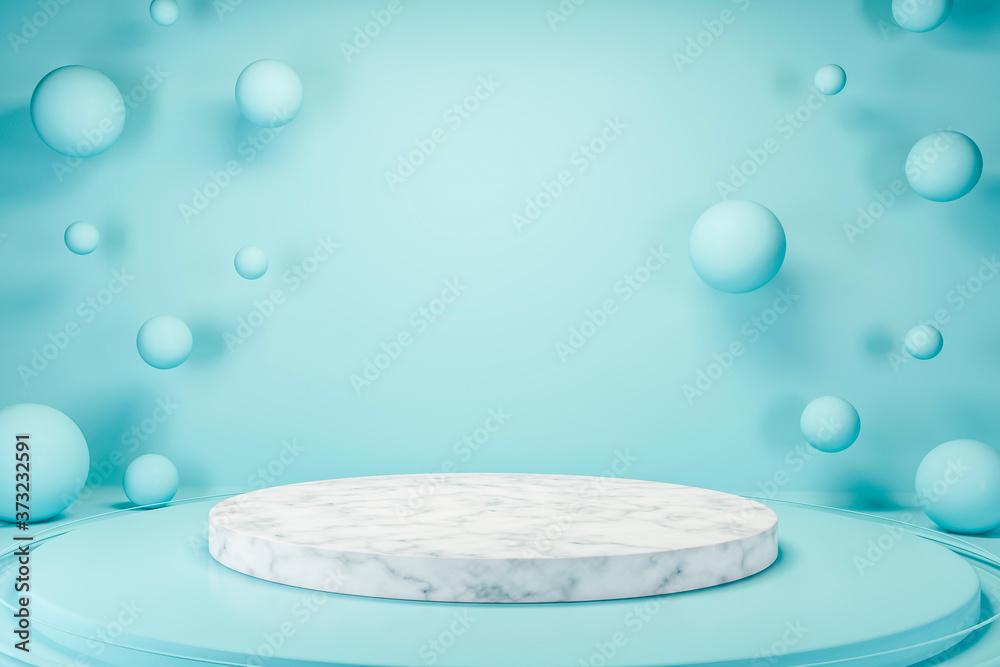 Round marble platform in blue room