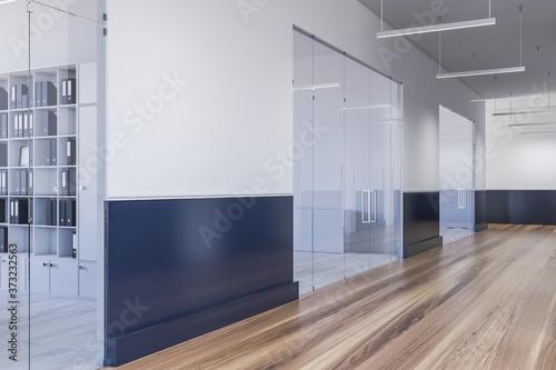 Fotografie, Obraz White and black office corridor