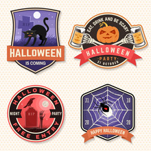 Halloween Beer Party Patch. Halloween Retro Badge, Pin. Sticker For Logo, Print, Seal. Scarecrow With Raven, Pumpkin, Skeleton Hand With Glass Of Magic Beer. Typography Design- Stock Vector.