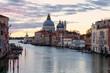 Venezia. Canal Grande con la Salute e Punta della Dogana all'alba dal Ponte dell'Accademia.