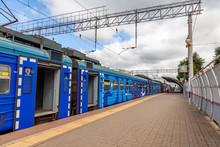 Pushkino, Russia, August 11, 2020. Modern High-speed Regional Train Near The Station Platform