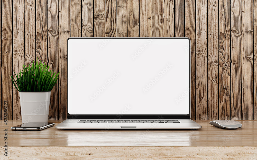 Fototapeta Laptop frameless blank screen - modern design. Standing on wooden table with smartphone and mouse against the background of wooden boards
