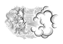 Hand Drawn God Of Wind In Engraving Style