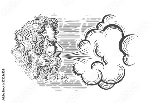 Valokuva Hand Drawn God of Wind in Engraving Style