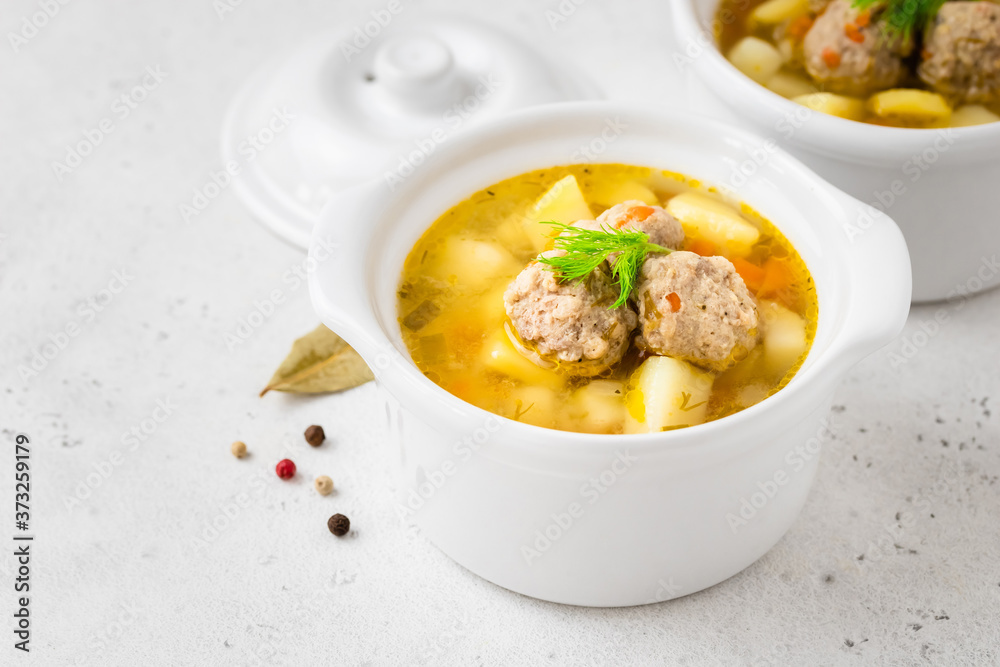 Paleo turkey meatball soup. Space for text.