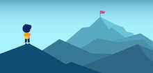 Vector Of A Boy With Backpack Looking At A Mountain Top With A Red Flag