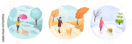 Fotomural Pet walking in bad weather, woman with dog in park, vector isometric flat illustration