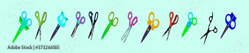 Fényképezés set of scissors cartoon icon design template with various models