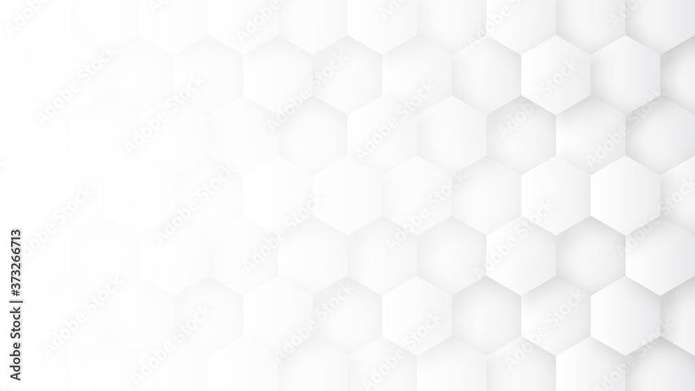 Technologic 3D Hexagon Blocks White Abstract Background. Conceptual Sci-fi Hexagonal Structure Pattern Minimalist Light Wallpaper In Ultra High Quality. Clear Blank Subtle Textured Banner Backdrop