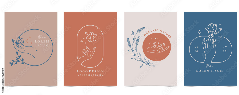 Collection of flower background set with hand, flower, rose,shape.Editable vector illustration for website, invitation,postcard and sticker