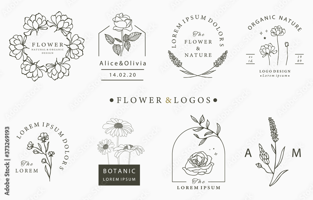 Beauty occult logo collection with hand,geometric,rose,moon,star,flower.Vector illustration for icon,logo,sticker,printable and tattoo