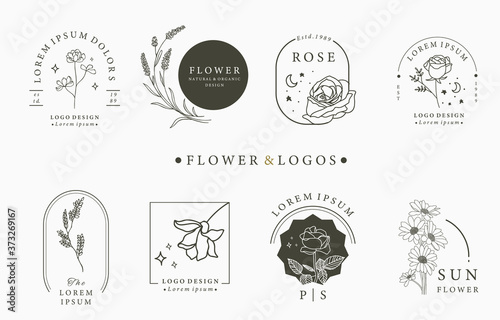 Beauty occult logo collection with geometric,rose,moon,star,flower Canvas Print