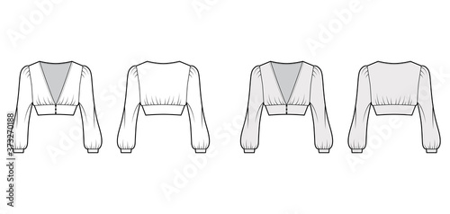 Cropped top technical fashion illustration with long bishop sleeves, puffed shoulders, front button fastenings Fototapet