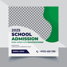 School Education Admission Instagram Facebook Post Cover & Web Banner, Back To School Social Media Post Template