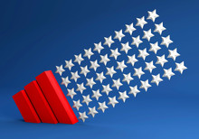 USA Modern 3d Background Template OF STARS AND STRIPES AS A GEOMETRIC TREND